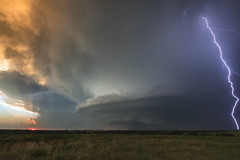 Mothership at Sunset (Kelly DeLay) Tags: supercell stormchasing weather weatherphotography kansas sunset lightning plains greatplains stormscape storm crepuscular