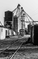 It Ends Here (pete ramirez) Tags: canon train tracks bw building 2018 yard car