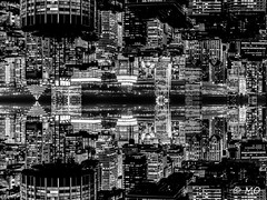 Electric city (death star serie) (mathieuo1) Tags: canada montreal city scape panorama work wide blend up down night cityscape nightscape nightshoot nighttrail starwars town building tower futurist new feeling skycrapper ca northamerica symmetry form composition rules imagination illumination gitzo nikon dlsr fineart confined art abstract graphism photography artlight above architecture blackandwhite le longexposure bnw monochrome world exposure travel dynamic urban light assassin mathieuo