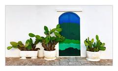 La porte (Jean-Louis DUMAS) Tags: artistic artiste artistique art wall mur white blanc bleu blue door porte cactus smartphone iphone
