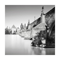 The Other Side (GlennDriver) Tags: bw blackandwhite mono black white long exposure bridge water river sky canon eos nd cahrles prague czech republic statue city urban