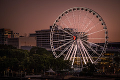 Brisbane - wheel (Rafael Zenon Wagner) Tags: riesenrad dämmerung sonnenuntergang abend fluss australien nikon d810 ferris wheel dawn sundown night australia river 150mm