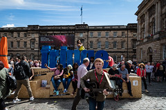 Edinburgh Festival Fringe 2018-26 (Philip Gillespie) Tags: edinburgh scotland festival fringe summer gardens sky sun clouds colours green yellow blue white black red purple orange pink water canon 5dsr photography color urban 2018 bright colourful wet outdoor outside people men women man woman kids children boys girls families crowds street performances acts comedians hoola hoop juggling fire flames eyes feet hands heads faces hair city centre royal mile castle tron joy pleasure happy happiness magic bubbles bursting magicians cabaret costumes makeup hats