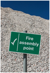 Fire Assembly - Western Infirmary Rubble, Glasgow (Gordon_Farquhar) Tags: fire assembly point sign warning old derelict rubble glasgow west end western infirmary hospital knocked down decay demolition demolished pile scotland scottish blue sky stones rocks