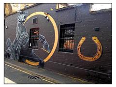STREET ART by NETHER410 (StockCarPete) Tags: nether vlong nether410 vanesalongchamp streetart londonstreetart camden graffiti urbanart london uk horse statue tamingofcamden horseshoe
