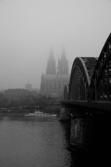 Cologne cathedral in the fog (sebastianhillemann) Tags: bw church bnw blackandwhite blackandwhitephotography cologne cathedral fog dust river bridge architecture germany monochrome noireblanc cityscape schwarzweis