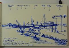 4 float planes in Victoria harbour (and the new bridge) (Matthew-1) Tags: sketch pleinairsketch fountainpensketch urbansketch canada bc victoria innerharbour victoriaharbourairport floatplanes airplanes