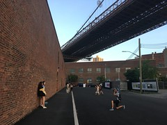 Students down under the manhattan bridge
