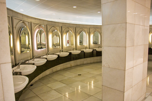 A lavishly appointed washroom at the Sheikh Zayed Mosque, Abu Dhabi