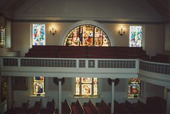 Washington  DC - St. John's Episcopal Church, Lafayette Square - Interior - Church of The United States President (Onasill ~ Bill Badzo) Tags: washington dc st episcopal church downtown lafayette square greek revival style architecture benjamin latrobe architect nrhp landmark attraction tours cupola interior pews presidents nixon roosevelt attended sixteenth h street nw stainglass ceiling balcony whitehouse sitting 1816 onasill james madison site service historic historical stain glass windows building