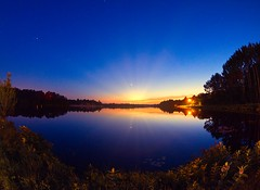 Sunset at Atsion Lake NJ (Desmojosh) Tags: canon altura 8mm f3 nj new jersey atsion lake water blue sunset sunrays trees long exposure stars star orange clouds landscape