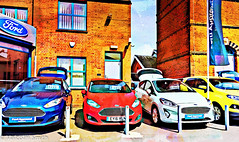 Ford Approved (M C Smith) Tags: ford dealer epping signs pentax k3 red white blue yellow flag cars building buildings letters numbers symbols shadows bollards chrome prices arch windows reflections pavement