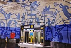 T-Centralen (Douguerreotype) Tags: sverige blue underground urban art lift sweden elevator stockholm tbana city architecture tunnelbana subway metro tube tunnel station
