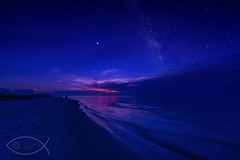 Sunset and Milky Way photographed separately. († David Gunter) Tags: sunset fort morgan bay beach sand nature sky clouds colorful color milky way stars sea ocean wave waves longexposure mars