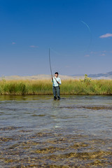 Fly Fishing-┼-(I (nevadoyerupaja) Tags: creek girl summer fish outdoors flyfishing portrait usa wyoming refuge flatcreek marymorganbeavers