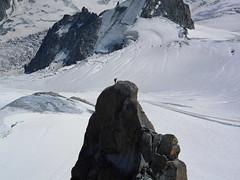 Mont Blanc brave climber (Jonathon Bennett Photos) Tags: climbing rope rock montblanc chamonix risk ontop snow white cravas