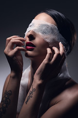 Francesca Magda (luca.onnis) Tags: lucaonnis photography portrait portraiture blindfold redlips hands
