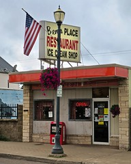 Ben's Place, Ironwood, MI (Robby Virus) Tags: ironwood michigan mi bens place restaurant dairy store business ice cream shop diner lunch counter food american flag lunches