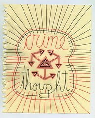 Thought Crime (Daniel Ari Friedman) Tags: pen ink paper drawing art red black white freehand cursive font letters words writing sentences abstract representation image cartoon scan
