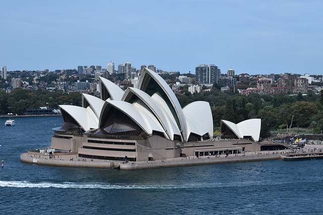 One landmark (Sydney Opera House) from another (Sydney Harbour Bridge)