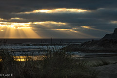 Bandon, Oregon (nebulous 1) Tags: bandon oregon pacificocean sand sunset beach grass light or rays water nikon nebulous1 glene seastacks
