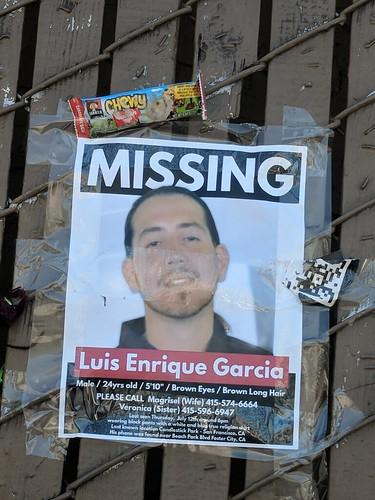 sign for missing person Luis Enrique Garcia