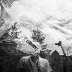 untitled (kaumpphoto) Tags: rolleiflex tlr 120 ilford hp5 plastic window selfportrait wrinkle tape street urban city reflection cap hat oldschool