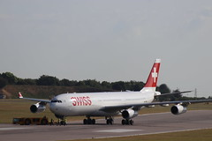SWISS Airbus A340-313 HB-JMD at CBG (robertetienne) Tags: airbus a340 cambridgeairport swiss hbjmd aircraft airplanes airlines jets aviation