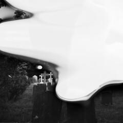 Spooky (holtelars) Tags: mamiya mamiyac220f c220f tlr twinlensreflex twinlens mamiyasekor 55mm f45 6x6 square squareformat 120 film 120film analog analogue ilford ilfordfp4 fp4plus 125iso mediumformat blackandwhite classicblackwhite bw ishootfilm monochrome filmforever filmphotography xtol jobo atl1500 larsholte homeprocessing mishap gossen profisix sbc graveyard england kilkhampton cornwall