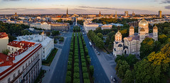 Riga panorama (Zygios) Tags: riga rigaoldtown oldtown city capital europe baltics street early morning church road trees sky architecture buildings drone dronefly dji mavicpro mavic building tree park tower landscape grass flickrtravelaward