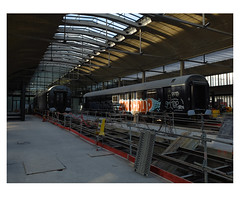 Halle Freyssinet  —  Station F, future food court. (michelle@c) Tags: urban cityscape architecture rehabilitation contemporan hall freyssinet stationf 1920 sncf railway building warehouse interior space ceiling prestressed concrete canopy shed rail waggon tag worksite parisxiii 2018 michellecourteau