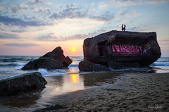 War & Love, WWII bunkers at dusk (Marc Heurtaut) Tags: capbreton colors longexposure wwiibunkers water waterfront atlanticocean beach clouds composition couple dusk france landscape love ricohgr silhouette sunlight sunset wideangle