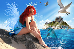 Fairy of the Sea (Davien Orion) Tags: explore deviantart photoshopelements fairy fairie wisp ocean island birds dolphin dolphins castle fairytale wings red redhead redhair bluedress jessica flickrbest beautiful woman model waves deviant goddess photomanipulation fantasy girl
