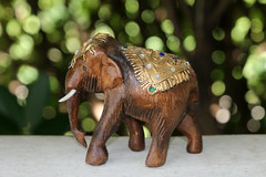 Indian Elephant (ejhrap) Tags: fillin flash wood wooden elephant carving bokeh