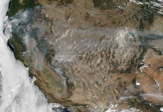 Fires in California and Smoke Throughout the West, MODIS Terra
