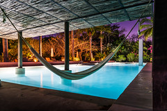 Once upon a time in Mexico. (catrall) Tags: mexico yucatan poolside pool night dusk blue water hacienda nikon d750 fx sigma sigmalens march 2018 onceuponatime hammock hotel accommodation relax recreation