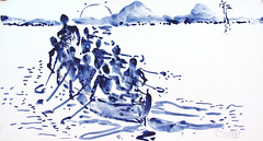 AFRICA TO THE NAKED 372 (eduard muntada) Tags: africa to the naked oxid 372 africanpeople watercolor light sun mountains boat river minimal