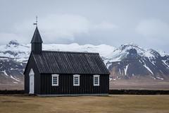 Búðakirkja (JeffMoreau) Tags: icelandic iceland church churches kirkja black budir sneafellsnes peninsula lava field mountain stratovolcano glacier snaefellsjokull budahraun sony a7ii 70mm