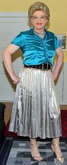 Birgit027065 (Birgit Bach) Tags: pleatedskirt faltenrock blouse bluse shiny glänzend