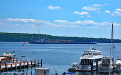 Mid-day Passage (GRNDMND) Tags: ships freighters bulkcarrier greatlakes calumet lakehuron mackinacisland michigan