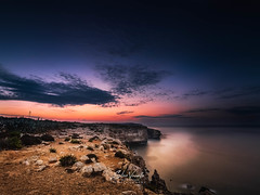 Between the Golden and Blue hour (Vee | Exposed) Tags: redyellow rockformation natural sunrise sunset veeexposed nature landscape lightning sky formation morning fall orange clouds storm longexposure blue red wildlife sea travel cloud golden island malta seascape mediterranian yellow winter rocks