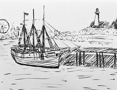 The American Pride #drawing #sketch #sketchbook #penandink #illustration #boat #ship #lighthouse #longbeach #california #art #graphicart (webloreArt) Tags: california art graphicart drawing sketch sketchbook penandink illustration boat ship lighthouse longbeach