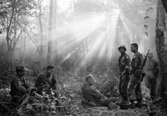 Vietnam War (ghostanddark2003) Tags: arvn at ease dawn military morning soldiers sun rays sunlight waiting binhgia vnm