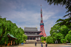 Hondo Main Hall at Zōjō-ji Temple with Tokyo Tower in Minato-ku - Tokyo Japan (mbell1975) Tags: minatoku tōkyōto japan jp hondo main hall zōjōji temple with tokyo tower asia shrine turm radio zojoji zojo ji