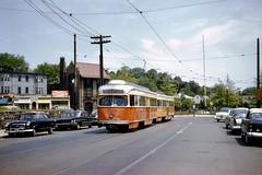 MTA PCC 3105+1 Oak Square 5-25-1961cf (ironmike9) Tags: bostonma trolley tram streetcar pcc transit publictransit mbta mta firehouse nash