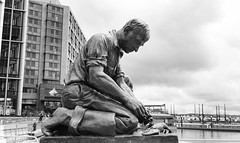 The Lobsterman Statue (donated from Maine) (Beau Finley) Tags: monochrome dc beaufinley statue swdc lobsterman waterfront districtofcolumbia washingtondc popville