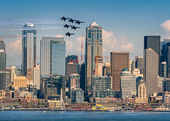 Blue Angels in Seattle! (EdBob) Tags: seattle blueangels seafair jets flying airshow officebuildings architecture downtown westseattle elliottbay pugetsound pacificnorthwest celebrations fa18 hornet diamondformation waterfront bay water summer festival washington washingtonstate cityscape america patriotism edmundlowephotography edmundlowe smoke contrail airplane aircraft flight aerial demonstration performance
