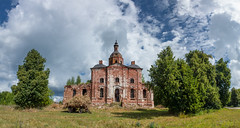 Abandoned Church. (Oleg.A) Tags: grass sunny saltykovo church nature midday orange clouds summer forest orthodox architecture cross antique ruined building russia old brick ryazanregion rural materials town countryside blue abandoned landscape wall cathedral green outdoor dome exterior field catedral landscapes noon outdoors ryazanskayaoblast ru