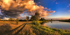 Golden hour over Pilica / Zlota godzina nad Pilicą (marcin.piontek) Tags: ifttt 500px golden hour grass trees clouds cloudscape summer green blue yellow colours colors countryside river riverbend rural water forest meadow travel poland sunset pilica