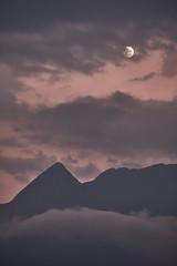 Moon over mountains 1 (PascallacsaP) Tags: moon sunset hautespyrénées midipyrénées arrensmarsous mountain dusk clouds sky france pyrenees mountains slopes peaks cliffs rocks valdazun occitanie moonovermountains gîteprébendé orange red